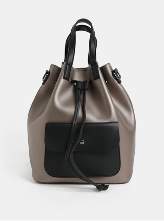 Černo-béžový batoh/vaková kabelka s metalickými odlesky Claudia Canova Alessia
