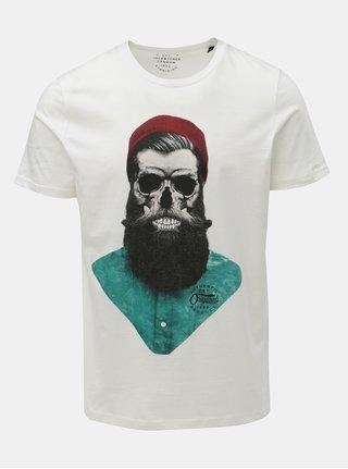 Bílé tričko s potiskem lebky Jack & Jones Art