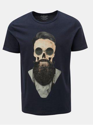 Tricou albastru inchis cu imprimeu craniu Jack & Jones Art