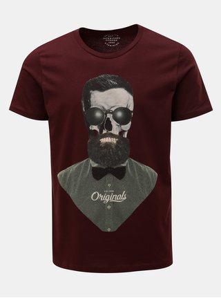 Vínové tričko s potiskem lebky Jack & Jones Art