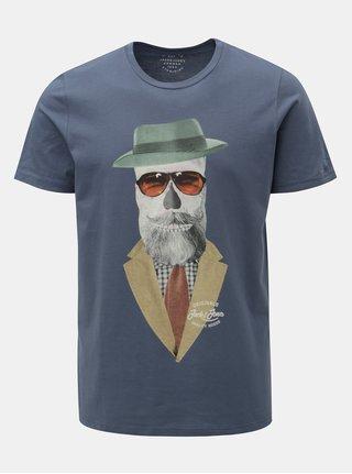 Modré tričko s potiskem lebky Jack & Jones Art