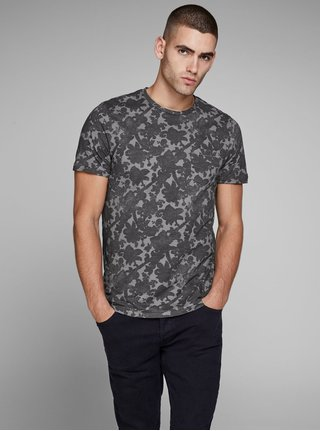 Sivé kvetované tričko s vreckom Jack & Jones Charlie