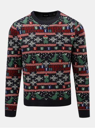 Tmavě modrý svetr s vánočním motivem ONLY & SONS Xmas
