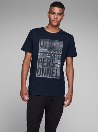 Tmavomodré tričko s potlačou Jack & Jones Denim