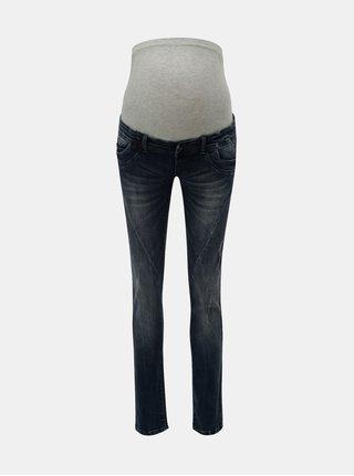 Modré těhotenské slim fit džíny s potrhaným efektem Mama.licious Holly
