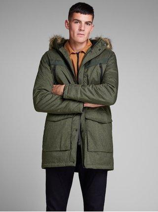 Tmavozelená zimná bunda s umelou kožušinkou Jack & Jones Earth