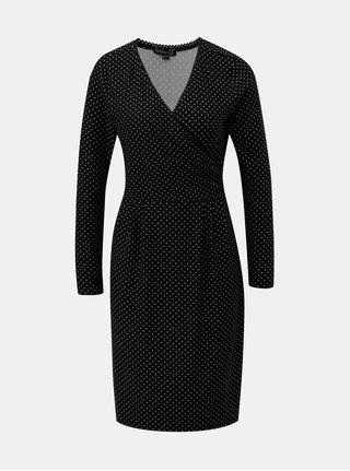 Čierne bodkované šaty s prekladaným výstrihom Smashed Lemon