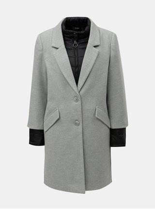 Světle šedý kabát s prošívanou lehkou bundou 2v1 VERO MODA Two