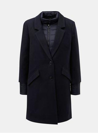 Tmavomodrý kabát s prešívanou tenkou bundou 2v1 VERO MODA Two