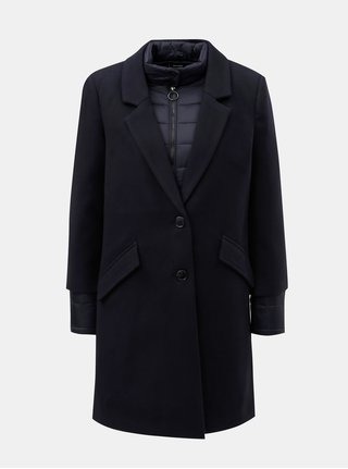 Tmavě modrý kabát s prošívanou lehkou bundou 2v1 VERO MODA Two