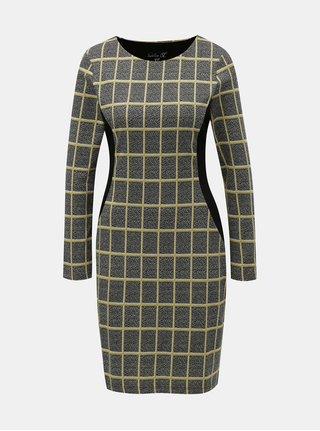 Žlto–sivé vzorované šaty s dlhým rukávom Smashed Lemon