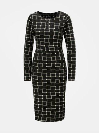 Černé vzorované pouzdrové šaty s mašlí Smashed Lemon