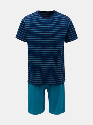 Pijama barbateasca din 2 piese albastru inchis in dungi M&Co