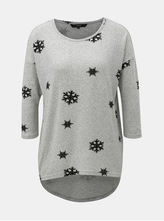 Sivý melírovaný tenký sveter s motívom vločiek VERO MODA Snowy