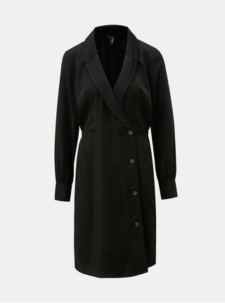 Černé šaty s dlouhým rukávem a překládaným výstřihem VERO MODA Pearl