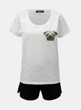Pijama din 2 piese negru-alb de dama cu imprimeu ZOOT Mops