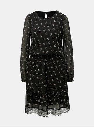 Černé květované šaty s dlouhým rukávem VERO MODA Viola