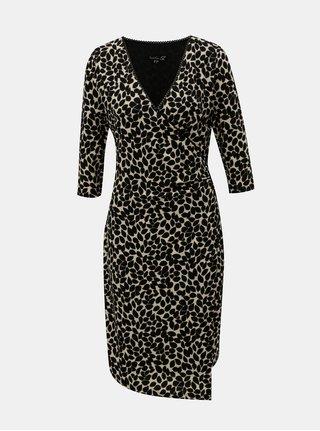 Béžovo–čierne vzorované šaty s prekladanou spodnou časťou Smashed Lemon