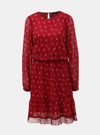 Červené květované šaty s dlouhým rukávem a krajkou VERO MODA Viola