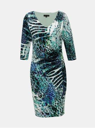 Modro–zelené vzorované šaty s riasením na boku Smashed Lemon