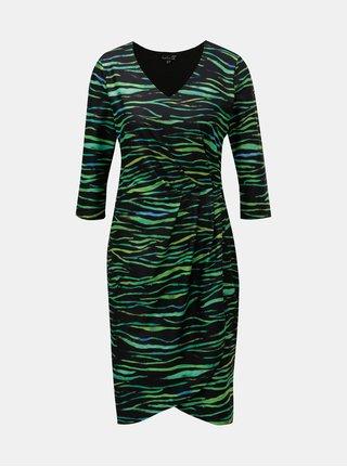 Zeleno-černé vzorované šaty s překládanou spodní částí Smashed Lemon