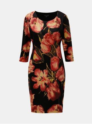 Červeno–čierne šaty s motívom tulipánov Smashed Lemon
