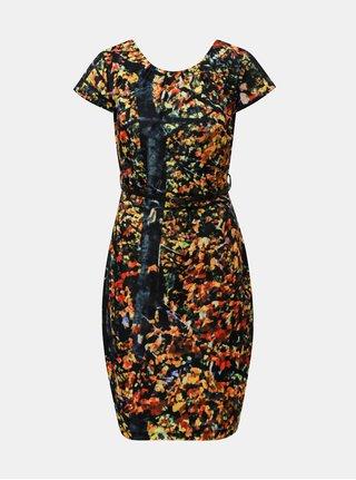 Oranžovo–čierne vzorované šaty s opaskom Smashed Lemon