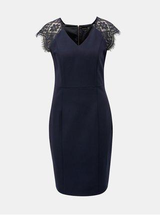 Tmavě modré pouzdrové šaty s krajkou Smashed Lemon