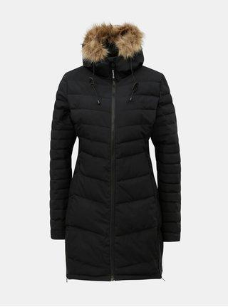 Čierny dámsky prešívaný kabát s umelou kožušinkou Meatfly Olympia