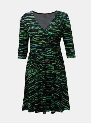 Zeleno–čierne vzorované šaty s prekladaným výstrihom La Lemon