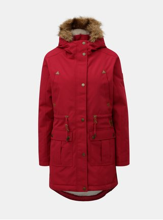 Geaca parka roz inchis de dama de iarna cu blana artificiala interioara Meatfly Rainy