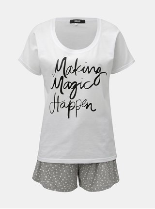 Pijama din 2 piese gri-alb de dama cu imprimeu ZOOT