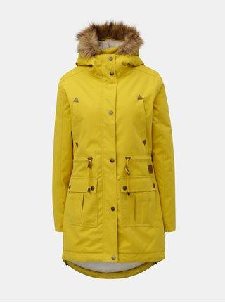 Geaca parka galbena de dama de iarna cu blana artificiala interioara Meatfly Rainy