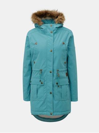 Geaca parka albastru deschis de dama de iarna cu blana artificiala interioara Meatfly Rainy