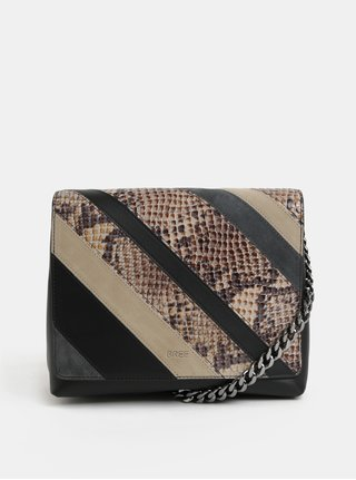 Čierno–béžová vzorovaná kožená kabelka so semišovými detailmi BREE