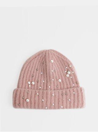 Caciula roz deschis de iarna cu margele Pieces Felia