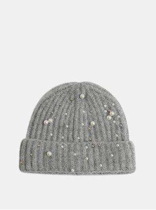 Světle šedá zimní čepice s perličkami Pieces Felia