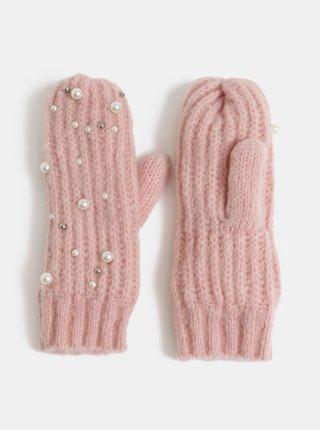 Svetloružové palčiaky s perličkami Pieces Felia