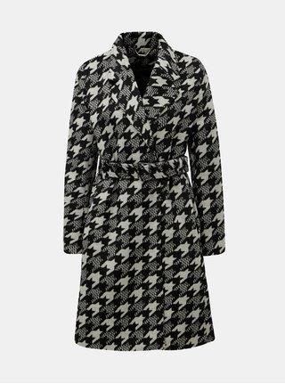 Krémovo-černý vzorovaný kabát s příměsí vlny Smashed Lemon