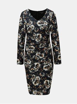 Krémovo-zelené květované šaty s řasením na boku Smashed Lemon
