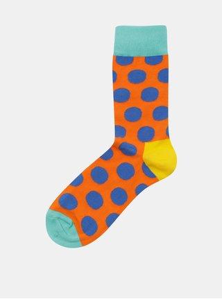 Modro-oranžové unisex puntíkované ponožky Happy Socks Big Dot Sock