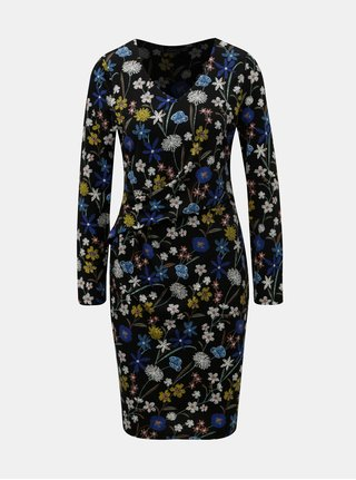 Černé květované šaty s řasením v pase Smashed Lemon