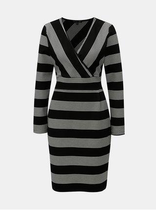 Bílo-černé pruhované šaty s překládaným výstřihem Smashed Lemon