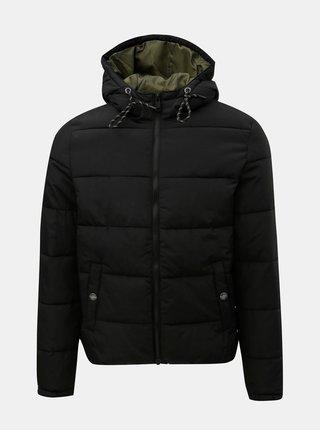 Čierna pánska prešívaná zimná bunda s.Oliver
