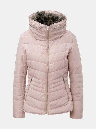 Světle růžová dámská zimní bunda s odnímatelným umělým kožíškem v límci QS by s.Oliver