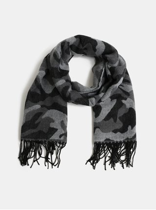 Sivo–čierny vzorovaný šál Pieces Kamou