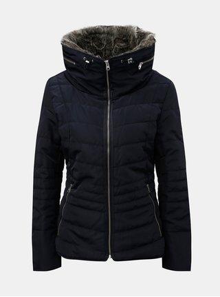 Jacheta albastru inchis de dama de iarna cu blana artificiala detasabila pe guler QS by s.Oliver