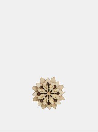 Brosa din lemn in forma de floare BeWooden Bellis Flower