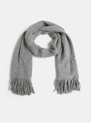 Sivý pletený šál s perličkami Pieces Fatula