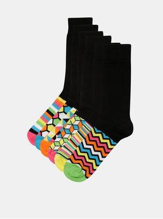 Balenie šiestich unisex vzorovaných ponožiek v čiernej a žltej farbe  Oddsocks Hot Shot ac8184088c7